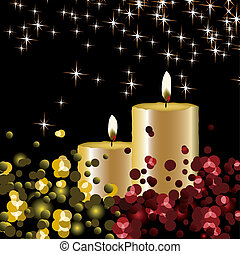 Vector lights background with candles