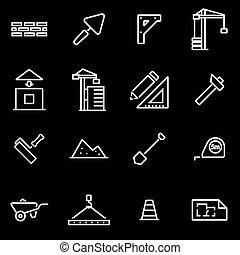 vector, lijn, bouwsector, pictogram, set