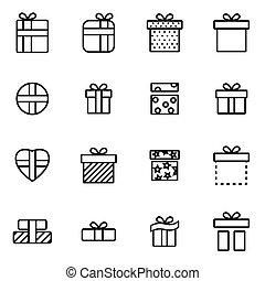 vector, lijn, cadeau, pictogram, set