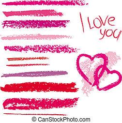 vector, lijn, gemaakt, lippenstift, borstel