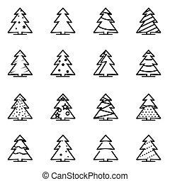 vector, lijn, kerstboom, pictogram, set