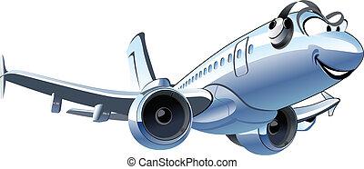 vector, lijnvliegtuig, spotprent