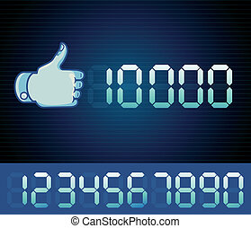 Vector like counter for social media page - digital like sign with numbers