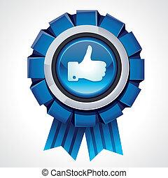 Vector like sign on glossy award icon - social media sign ...