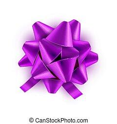 vector, lila, regalo, festivo, isolated., ilustración, arco, decoración, cumpleaños, verde, celebración, feriado, cinta, card.