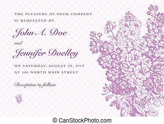 Vector Lilac Bouquet and Purple Background - Vector lilac...
