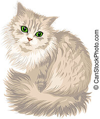 vector lilac fluffy cute cat with green eyes