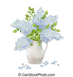 Vector Lilac in Vase - Vector bouquet of lilac in a vase ...