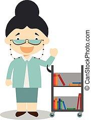 vector, lindo, caricatura, bibliotecario, ilustración