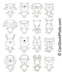 vector, lindo, caricatura, outlines., animales, conjunto