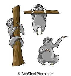 vector, lindo, conjunto, arte, perezoso, t-shirt., árbol., sloths., ahorcadura, impresión, montañismo, poster., style., o, caricatura, feliz