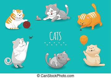 vector, lindo, gatitos, ilustración