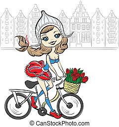 vector, lindo, niña, bicicleta, amsterdam