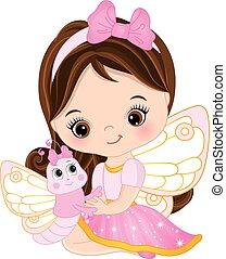 vector, lindo, poco, hada, con, mariposa