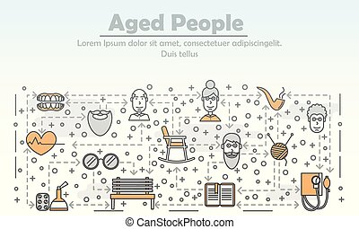Vector line art aged people poster banner template