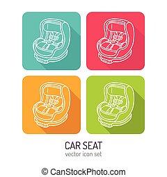Vector line art car seat icon set