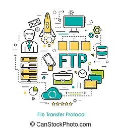Vector Line Art Concept of FTP