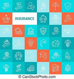 Vector Line Art Insurance Icons Set