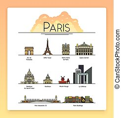 Vector line art Paris, France, travel landmarks and architecture icon set. The most popular tourist destinations, streets, cathedrals, buildings, symbols of the city