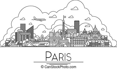 Vector line art Paris, France, travel landmarks and architecture icon. The most popular tourist destinations, city streets, cathedrals, buildings, symbols in one illustration