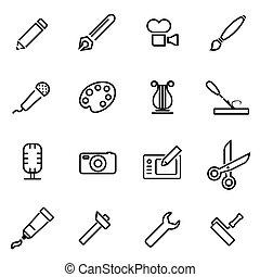 Vector line art tool icon set