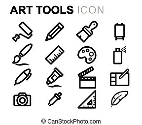 Vector line art tools icons set