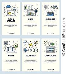 Vector line art web and mobile app template set - Vector set...