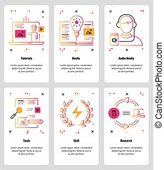 Vector line art web and mobile app template set - Vector set...