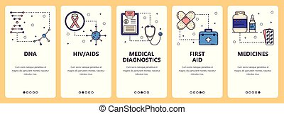 Vector set of vertical banners with DNA, HIV AIDS, Medical diagnostics, First aid, Medicines website and mobile app templates. Modern thin line flat style design.