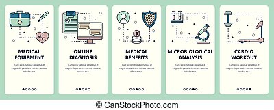 Vector set of vertical banners with Medical equipment, Online diagnosis, Medical benefits, Microbiological analysis, Cardio workout website and mobile app templates. Modern thin line flat style design