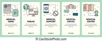 Vector set of vertical banners with Medical news, Forum, Medical support, Medical advice, Medical center website and mobile app templates. Modern thin line flat style design.