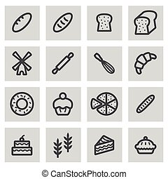 Vector line bakery icons set