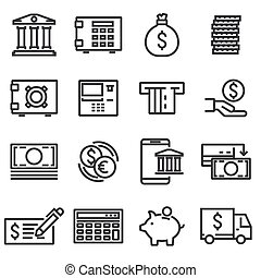 Vector line bank icons set