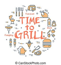 Vector line banner for picnic and barbecue party - time to grill