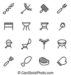 Vector line barbecue icon set