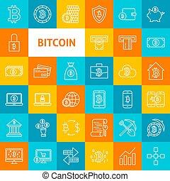 Vector Line Bitcoin Icons