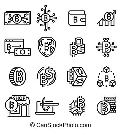 Vector line Bitcoin icons set