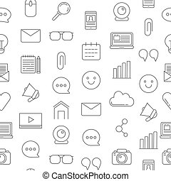 Vector line blog icons pattern or background illustration