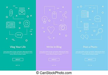 Vector line blog icons smartphone template color - Vector...