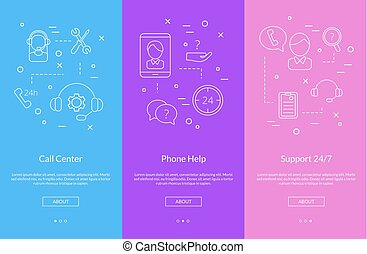 Vector line call support center icons smartphone...