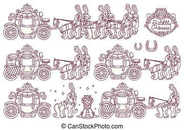 vector line Cinderella carriage