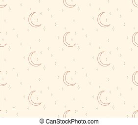 Vector Abstract Line Drawing Cosmic Seamless Pattern with Moon, Stars, Crescent, pastel earthy colors. Design Elements Illustration. Branding. Swatch