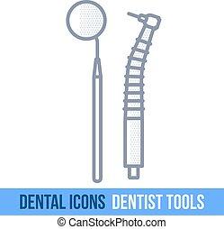 Vector line dental icon. Dentist tools. Brochures,...