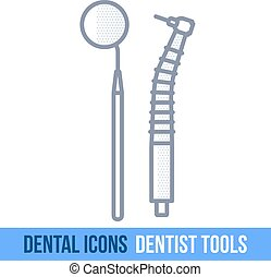 Vector line dental icon. Dentist tools. Brochures,...