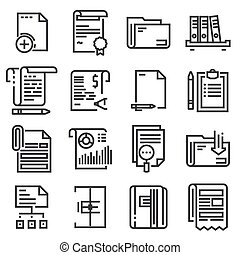 Vector line documents icons set