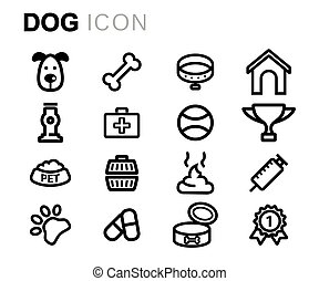 Vector line dog icons set
