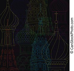vector line drawing illustration moscow city night scene