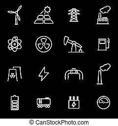 Vector line energetics icon set. Energetics Icon Object, ...