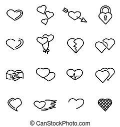Vector line heart icon set