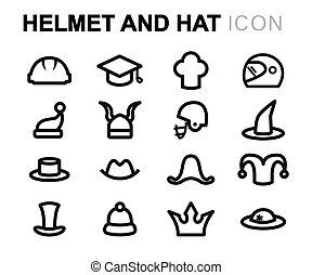 Vector line helmet and hat icons set